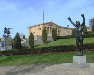 Philadelphia Museum Of Art And Rocky Statue